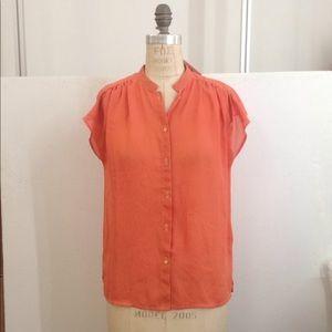1970's sheer orange Blouse